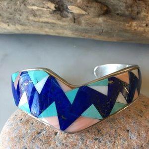 Vintage Lorraine Long Navajo Inlaid Bracelet
